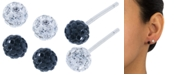 Giani Bernini Crystal 4mm 2-Pc Set Pave Stud Earrings in Sterling Silver, Available in Black and White or Red and White