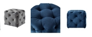 INSPIRED HOME Angel Upholstered Tufted Allover Cube Ottoman