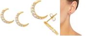 Macy's White Topaz Crescent Moon Stud Earrings (1/2 ct. t.w.) in 14k Gold