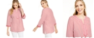 Charter Club Embroidered Striped Linen-Blend Tunic, Created for Macy's