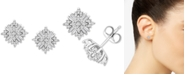 Macy's Diamond Sunburst Stud Earrings (1/3 ct. t.w.) in 10k White Gold