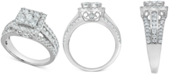Macy's Diamond Square Cluster Halo Engagement Ring (1-1/2 ct. t.w.) in 14k White Gold