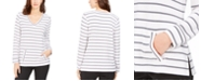 Charter Club Striped V-Neck Tunic, Created for Macy's