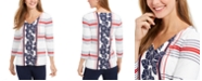 Charter Club Mixed-Print V-Neck Tunic, Created for Macy's