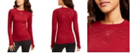 Ideology Seamless Perforated Long-Sleeve Top, Created for Macy's