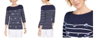 Karen Scott Embroidered 3/4-Sleeve Top, Created For Macy's