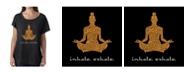LA Pop Art Women's Dolman Cut Word Art Shirt - Inhale Exhale