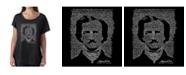 LA Pop Art Women's Dolman Cut Word Art Shirt - Edgar Allen Poe - The Raven