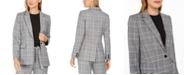Calvin Klein Petite Plaid One-Button Blazer