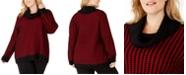 Calvin Klein Plus Size Mixed-Stitch Cowlneck Sweater