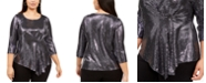 Connected Plus Size Metallic Asymmetrical Top