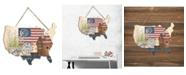 "Trendy Decor 4U Trendy Decor 4U Old Glory Still Life by Linda Spivey, Printed Wall Art on a USA-Shaped Wood, 12"" x 9"""