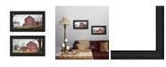 "Trendy Decor 4U Antique Barn Quilt Barn 2-Piece Vignette by Billy Jacobs, Black Frame, 21"" x 12"""