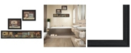 """Trendy Decor 4U Country Bath II Collection By Pam Britton, Printed Wall Art, Ready to hang, Black Frame, 67"""" x 17"""""""