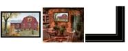 "Trendy Decor 4U Autumn Leaf Quilt Block Barn by Billy Jacobs, Ready to hang Framed Print, Black Frame, 38"" x 26"""