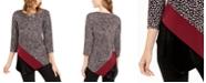 Alfani Printed & Velvet Asymmetrical Top, Created for Macy's