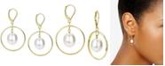 Macy's Cultured Freshwater Pearl (11mm) Orbital Drop Earrings in 14k Gold