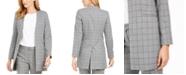 Calvin Klein Collarless Plaid Topper Jacket