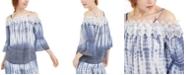BCX Juniors' Tie-Dye Off-The-Shoulder Top