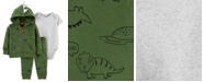 Carter's Baby Boys 3-Pc. Cotton Dinosaur-Print Hoodie, Bodysuit & Pants Set