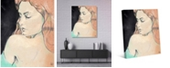"""Creative Gallery Woman's Shoulder Glance Colorized Drawing 20"""" x 16"""" Canvas Wall Art Print"""