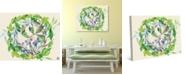 "Creative Gallery Peridot Leaves Berries Wreath Watercolor 36"" x 24"" Canvas Wall Art Print"