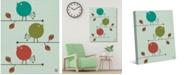 "Creative Gallery Retro Bubble Baby Birds on Mint 36"" x 24"" Canvas Wall Art Print"