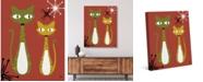 "Creative Gallery Retro Cat Buddies Astrobursts on Rust 20"" x 16"" Canvas Wall Art Print"