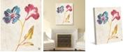 "Creative Gallery Vintage Like Watercolor Flowers - Primaries Tanned 36"" x 24"" Canvas Wall Art Print"