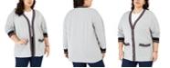 Tommy Hilfiger Plus Size Striped-Trim Cardigan