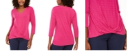 JM Collection JM Colletion Embellished Twist-Front Top, Created for Macy's