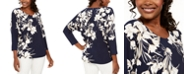JM Collection Printed Rhinestone Dolman-Sleeve Top, Created for Macy's