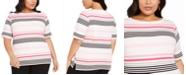 Karen Scott Plus Size Striped Top, Created For Macy's