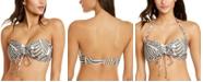 DKNY Printed Bandeau Tie-Front Bikini Top