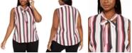 Nine West Plus Size Striped Tie-Trim V-Neck Blouse