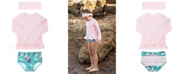 RuffleButts Toddler Girl's Long Sleeve Rash Guard Swimsuit Swim Headband Set, 2 Piece