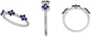 Macy's Sapphire (1/2 ct. t.w.) & Diamond (1/6 ct. t.w.) Flower Statement Ring in 14k White Gold