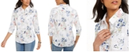 Karen Scott Petite Cotton Lisa Floral-Print Clip-Dot Shirt, Created For Macy's