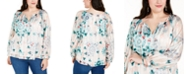 INC International Concepts INC Plus Size Printed Chiffon-Overlay Top, Created for Macy's
