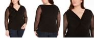 INC International Concepts INC Plus Size Twist-Front Illusion-Sleeve Top, Created For Macy's