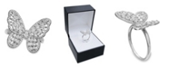 Macy's Cubic Zirconia Baguette Butterfly Ring (1-1/2 ct. t.w.) In Sterling Silver  or 18K Rose Gold over Sterling Silver