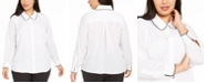 Calvin Klein Plus Size Collared Colorblocked-Trim Blouse