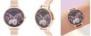 Olivia Burton Women's Fine Art Rose Gold-Tone Stainless Steel Mesh Bracelet Watch 38mm