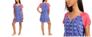 Muk Luks Raglan Sleeve Colorblocked Sleep Shirt Nightgown