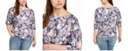 Belldini Plus Size Printed Puff-Sleeve Top