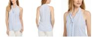 Calvin Klein X-Fit Slim-Fit Dot-Print Tie-Neck Top