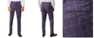 Tallia Men's Slim-Fit Stretch Purple Windowpane Suit Separate Pants