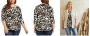 Karen Kane Plus Size Printed 3/4-Sleeve Shirttail Top
