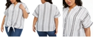 Charter Club Plus Size Striped Tie-Front Linen Top, Created for Macy's