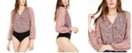 Bar III Printed Surplice Bodysuit, Created for Macy's